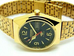 citizen automatic men's gold plated black dial day date vintage japan watch run