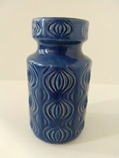 Scheurich 285-15 Modernist Mid Century Fat Lava Vase, Blue Glaze, West Germany