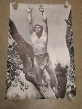 Johnny Weissmuller Tarzan Edgar Rice Poster Vintage 1970's Black And White C245