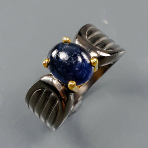 Jewelry Handmade Blue Sapphire Ring Silver 925 Sterling  Size 5.5 /R164505