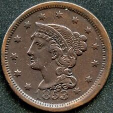 1853 (XF) BRAIDED HAIR LARGE CENT