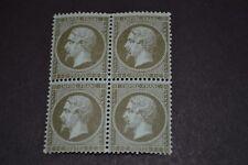 FRANCE napoleon 1862  N°19 1 centime olive bloc de 4 neuf ** qualité luxe