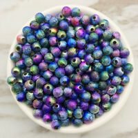 NEW DIY 4/6/8/10mm Multicolour Acrylic Round Spacer Loose Beads Jewelry Making