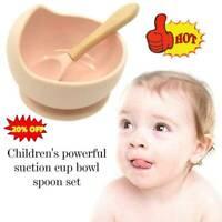 Silicone Baby Suction Bowls With Spoon Feeding Toddler Anti-fall Fda O5N2