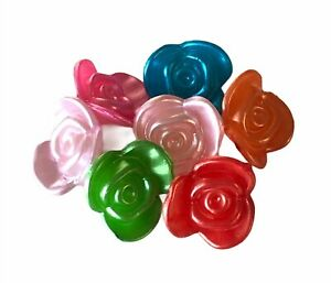 50 Flowers Assorted Pearl Color 15mm Acrylic Rose Flower Button Drop Craft Beads