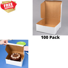 100 Pack 10 x 10 x 4 White Square Paperboard Cake Bakery Box Non Corrugated Pies