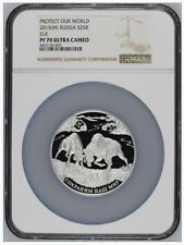 2015(M) RUSSIA ELK  5 oz SILVER 25 Ruble Proof. Only 3 coins graded NGC PF70!