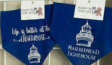 Marblehead Lighthouse Dog Bandana Blue White Large  30 x 14