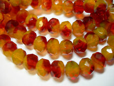 25 Fireside Crystal Mix Czech Glass Rondelle Beads 8x6mm