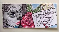 ORIGINAL INMATE ART DRAWING LEOPARD ROSES DIOS DE LA MEURTE CARD ROMANCE LOVE