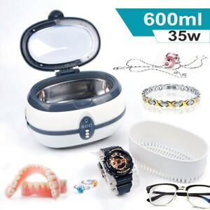 Digital Ultrasonic Cleaner 600ml Ultra Sonic Jewelry Glasses Watches Cleaning UK