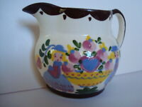 Vintage Hand Painted Floral Boy Girl Heart Pitcher Wall Pocket Porcelain Decor