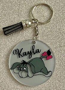 Winnie the Pooh, Eeyore, Disney personalised keyring. Handmade novelty gift!