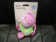 LE JOU JOU - BABY PRAM TOY RATTLE - HIPPO - SUITABLE FROM BIRTH - BNIP
