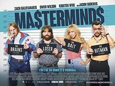 CINEMA POSTER : MASTERMINDS 2016 COMEDY  UK ADVANCE QUAD  KATE MCKINNON