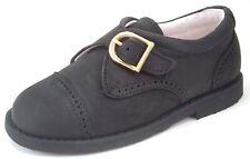 DE OSU - Boys European Black Nubuck Leather Monk Strap Dress Shoes -Size 6-10