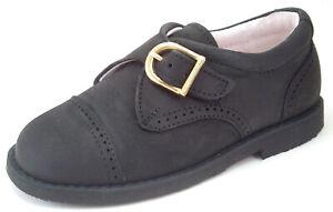 DE OSU - Boys Black Nubuck Leather Monk Strap Dress Shoes - European - Size 6-10