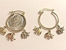 Good luck Elephant 14K SOLID EARRING Lucky HOOP Tri yellow white Rose Real GOLD