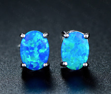 Blue Fire Natural Opal Stud Earrings 7mm Sterling Silver filled Oval round