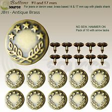 Jeans Buttons Metal Buttons Premium High Quality Antique Brass Hammer on Buttons Zinc - Jb9 17 Mm Pack of 10