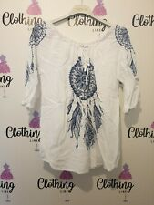 Ladies Summer Top Feather Print Denim And White 3/4 Sleeve Sale Now On