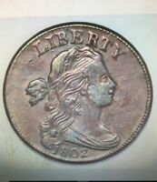 1802  Cent Draped Bust Large 1/000 S-228 variety  XF45/AU50   -MB54-
