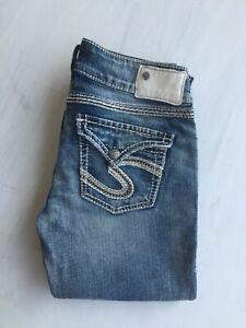 NEW Silver Jeans Women's  MCKENZIE Flap Leg Low/Mid Rise F10521B