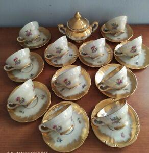 Servizio antico tazzine caffe porcellana bavaria oro zecchino effetto madreperla
