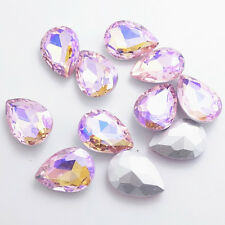 Hot Color AB10pcs Crystal Glass rhinestones Silver Bottom Teardrop beads 13x18mm