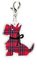Red Tartan Scottish Scottie Dog Clip On Charm Gift Bracelet Necklace