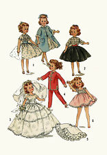 """Little Miss Revlon Miss Ginger by Ideal 10 1/2"""" Doll Clothing PATTERN 2254 1950s"""