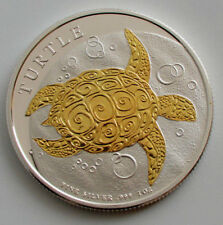 2017 1OZ .999 NIUE HAWKSBILL TURTLE 2 DOLLARS GOLD GILDED SILVER COIN