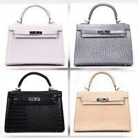 NEW! Faux Crocodile Alligator Leather Handbag Purse Grey White Black Khaki