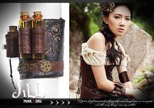 Goth visual SteamPunk alchemist mystery elixir tube leatherette bracelet SP057 B