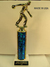 "BOWLING TROPHY AWARD 12"" TALL FREE ENGRAVING SHIPS 2 DAY MAIL M or F"
