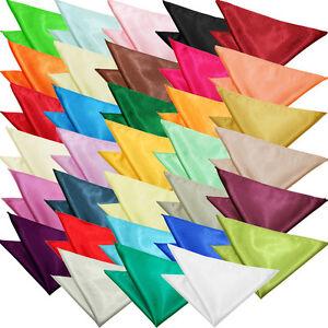 Mens Handkerchief Hanky Pocket Square Plain Satin Solid Wedding Accessory by DQT