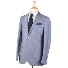 NWT $1475 LUIGI BIANCHI Sky Blue Stripe Lightweight Wool Unstructured Suit 40 R