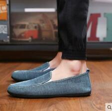 New Summer Men Cotton Linen Breathable Shoes Slip On Loafers Moccasin-gommino sz