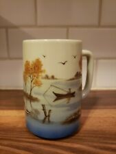 "Otagiri Japan Coffee Mug With Lake Ducks Boat Fishing Scene 5"" Tall"