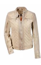David Moore Donna Giacca da mix di materiali in pelle/cotone, beige, tg. 40