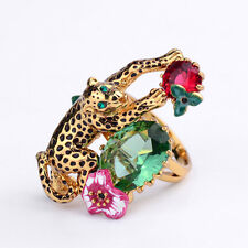 Bague Plaqué Or Panthere Animal Fleur Rose Feuille Email Vert L3 T56