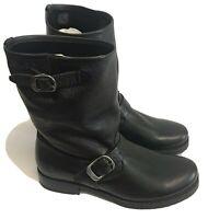 Frye Women's Sz 9 Veronica Short Buckle Moto Boots Black Leather NEW