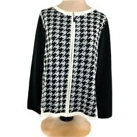 Talbots Cardigan Sweater Women's Size X Black White Checkered Zip Front