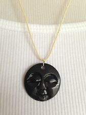 BRAND NEW Hand carved bone full moon face necklace!! Black