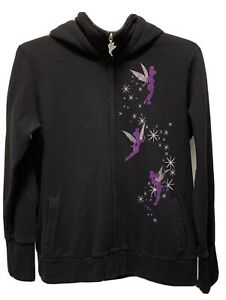 Disney  Tinkerbell Believe Hoodie Full Zip Black Glitter XL