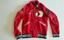Mens Polo stadium Ralph Lauren Indian Head Red Varsity  Jacket Size Small New
