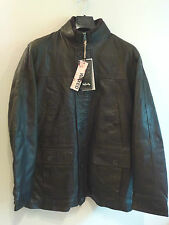 Mens Infinity New York Hand Stitched Waxed Genuine Leather Jacket NEW Brown
