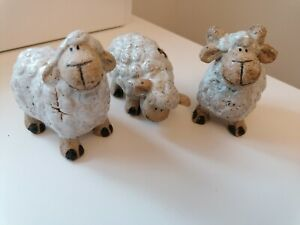 New Cute Sheep Ornaments- Pottery Glazed x  set of 3 Ideal Gift