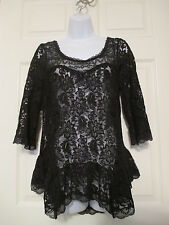 Free People Hi-Low Black Lace Tunic Shirt Size S NEW Anthropologie