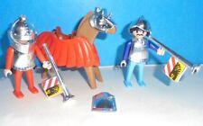 Playmobil lot Castle 2 KLICKY KNIGHT figures with CHROME ARMOR, HELMET. Horns +